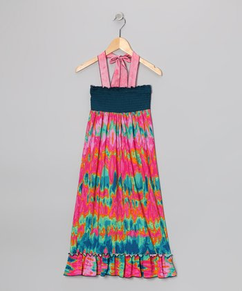 Rated G Teal & Pink Tie-Dye Maxi Dress