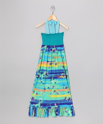 Turquoise & Blue Floral Stripe Maxi Dress - Girls
