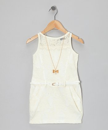 Ivory Lace Dress & Bow Necklace - Girls