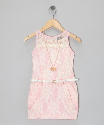 Pink Lace Dress & Bow Necklace - Girls
