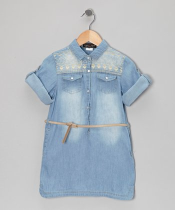 Faded Denim Shirt Dress