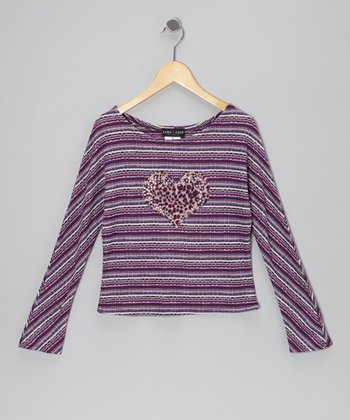 Purple Stripe Cheetah Heart Top