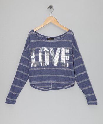 Blue Stripe 'Love' Top - Girls