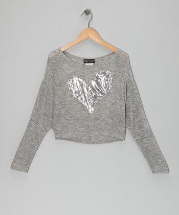Gray Sequin Heart Sweater