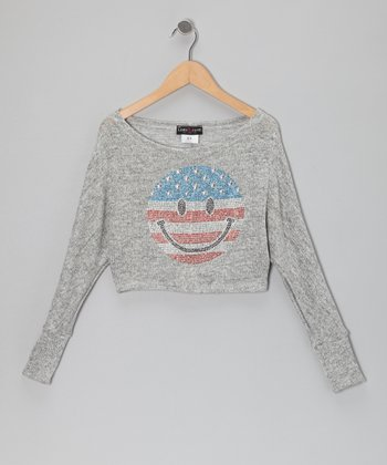 Gray USA Happy Face Sweater