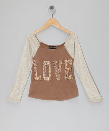 Brown & Ivory 'Love' Raglan Top