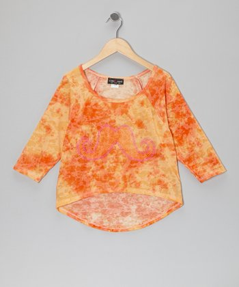 Orange Tie-Dye Mustache Top