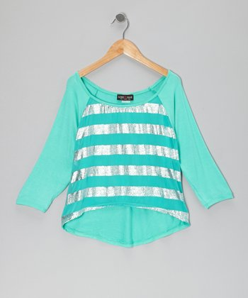 Turquoise Stripe Hi-Low Top