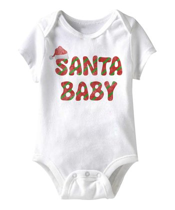 White 'Santa Baby' Bodysuit - Infant