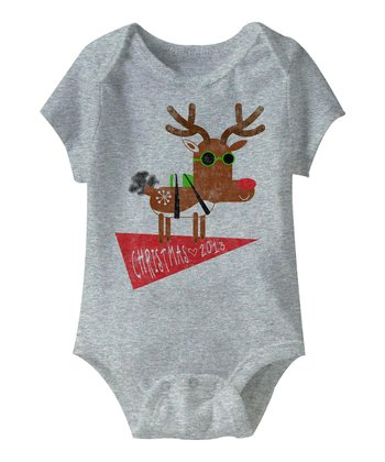 Heather Gray 'Christmas 2013' Reindeer Bodysuit - Infant