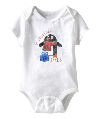 White 'First Christmas' Penguin Bodysuit - Infant