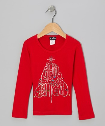 Red 'Christmas Tree' Rhinestone Tee - Toddler & Girls