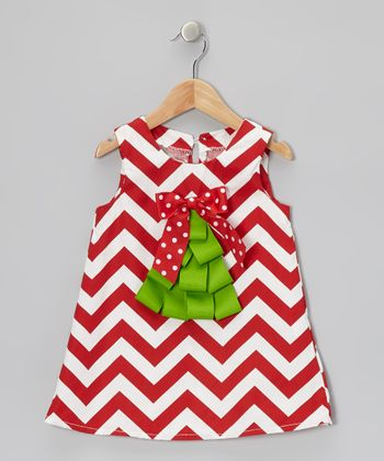 Red & White Zigzag Christmas Tree Swing Dress - Infant & Toddler