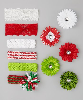 Red & Green Holiday Headband Set