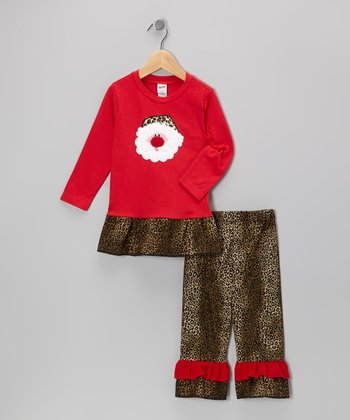 Red Leopard Santa Tunic & Ruffle Pants - Infant, Toddler & Girls