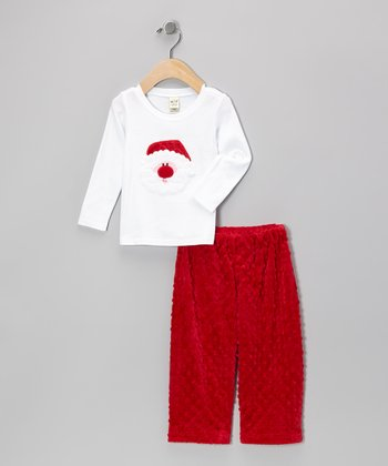 White Santa Tee & Red Minky Pants - Infant, Toddler & Girls