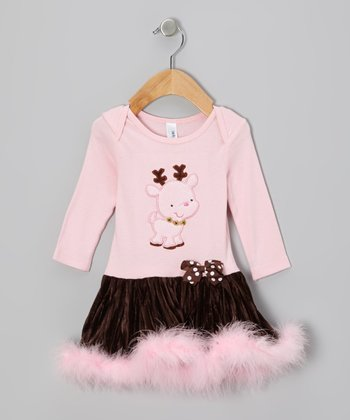Pink & Brown Reindeer Drop-Waist Dress - Infant & Toddler