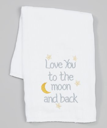 White 'Love You to the Moon and Back' Burp Cloth
