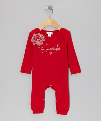 Red 'Snow Angel' Holiday Flower Playsuit - Infant