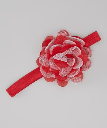 Red Holiday Flower Headband