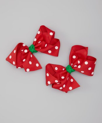 Red & White Polka Dot Bow Hair Clip Set