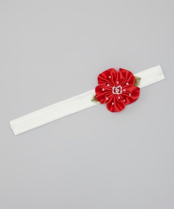 White & Red Beaded Satin Flower Headband