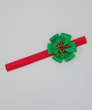 Red & Green Holly Bow Headband