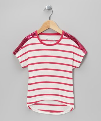 Fuchsia & White Stripe Dolman Top - Girls