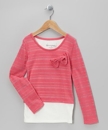 Hot Pink & White Stripe Layered Top