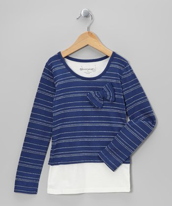 Navy & White Stripe Layered Top