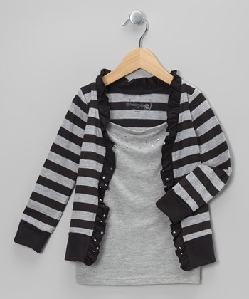 Black & Heather Gray Stripe Layered Cardigan - Toddler