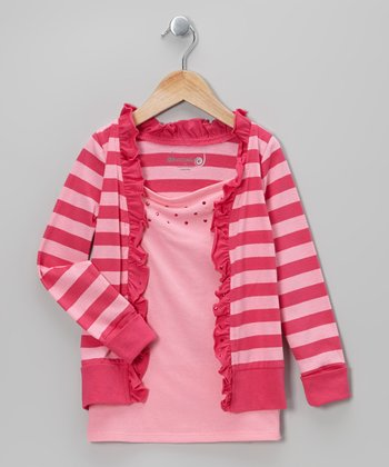 Fuchsia & Sachet Pink Stripe Layered Cardigan - Toddler