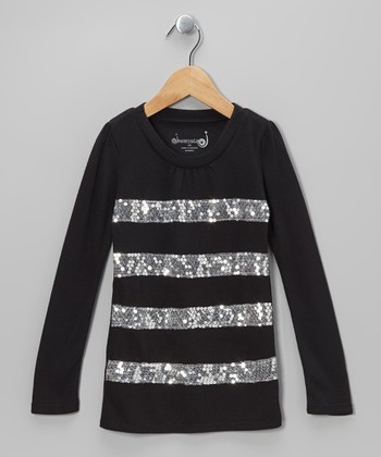 Black Sequin Stripe Top - Toddler