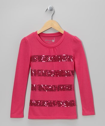 Fuchsia Sequin Stripe Top - Toddler