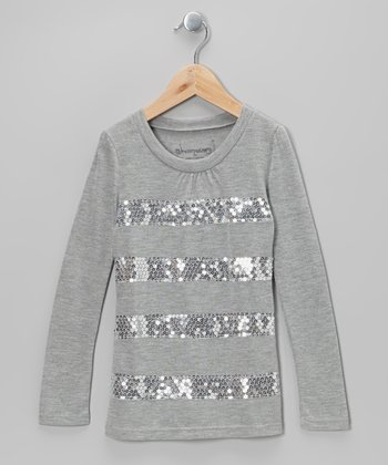 Heather Gray Sequin Stripe Top - Toddler