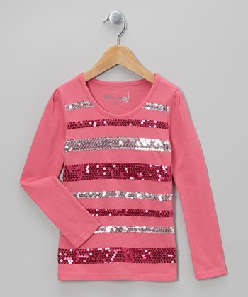 Hot Pink Contrast Sequin Stripe Top - Toddler