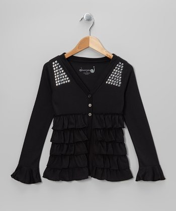 Black Tiered Ruffle Cardigan - Toddler