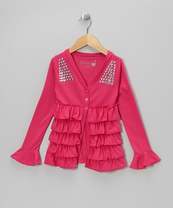 Fuchsia Tiered Ruffle Cardigan - Toddler