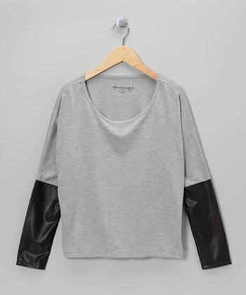 Heather Gray & Black Faux Leather Crop Top