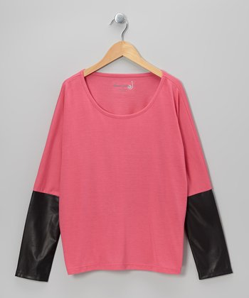 Fuchsia & Black Faux Leather Crop Top