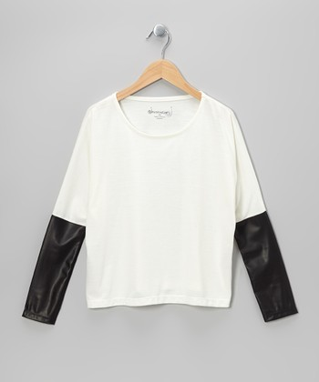 White & Black Faux Leather Crop Top