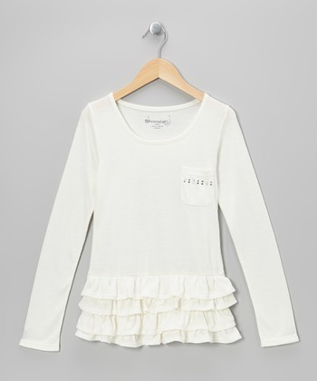 White Studded Tiered Ruffle Tunic - Toddler