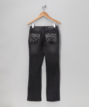 Charcoal Faux Leather Pocket Bootcut Jeans - Girls