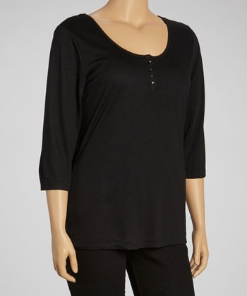 Black Lace Henley - Plus