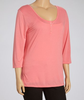 Lipstick Lace Henley - Plus