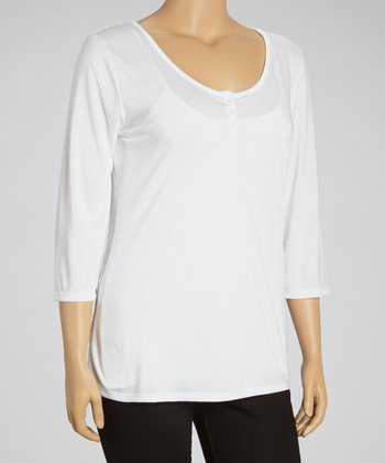 White Lace Henley - Plus