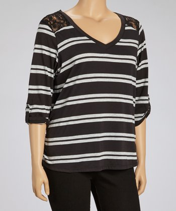 Black & Gray Lace Stripe Three-Quarter Sleeve Top - Plus