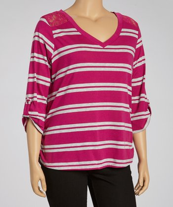 Peony & Gray Lace Stripe Three-Quarter Sleeve Top - Plus