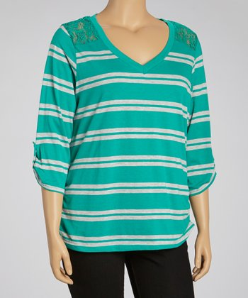 Blue & Gray Lace Stripe Three-Quarter Sleeve Top - Plus