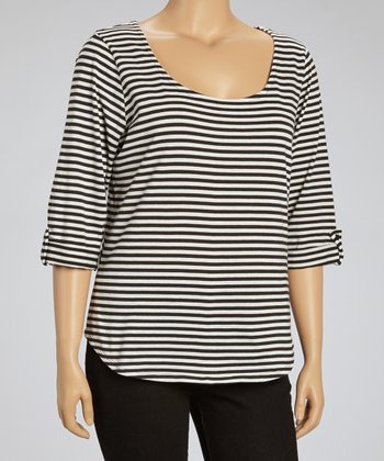 Winter White Stripe Chiffon Racerback Tee - Plus